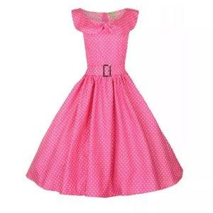 Lindy Bop Hetty Pink Polka Dot pin up dress retro